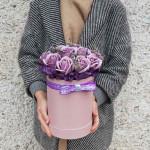 Коробка с розами из мыла Лаванда