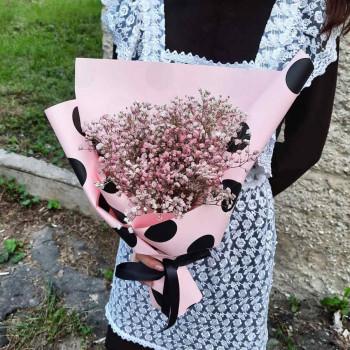 Букет в школу из розовой гипсофилы