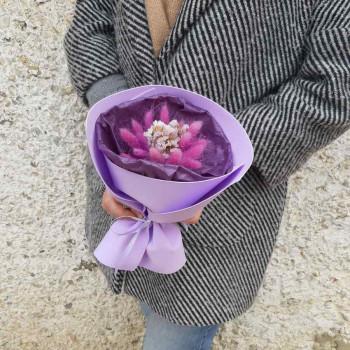 Букет из сухоцветов Сиреневый лагурус