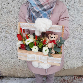 Ящик-лён с цветами (дерево)